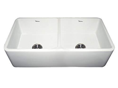 Whitehaus 37 in. Duet Double Bowl Fireclay Farmhouse Kitchen Sink (White)