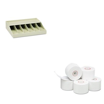 KITMMF210470089PMC18996 - Value Kit - Pm Company Single-Ply Thermal Cash Register/POS Rolls (PMC18996) and MMF Bill Strap Rack (MMF210470089)
