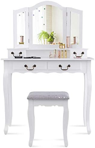CHARMAID Tri-Folding Mirror Vanity Set with Cushioned Stool and 4 Drawers, Makeup Dressing Table with Cushioned Stool for Women Girls Bedroom, Bedroom Bathroom Vanity Table and Stool Set White