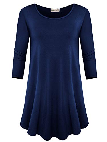 Asymmetric Sleeve Top - ZENNILO Womens 3/4 Sleeve Loose Fit Swing Tunic Tops Basic T Shirt (Navy Blue, S)
