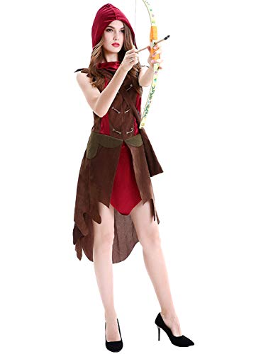 Halloween Adult Women Pirate Costume Miss Robin Hood Cosplay Dress Party Ideas Red