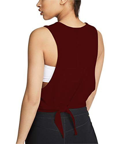 (Women Active Tie Back Tank Relaxed Fit Sleeveless Workout Crop Top Hole-Back Pullover Shitrs (Wine, Small))
