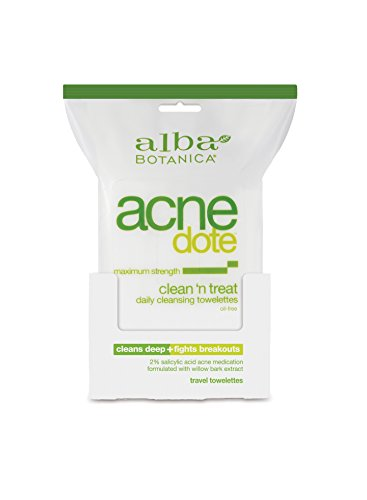 Alba Botanica Acnedote Maximum Strength Clean 'N Treat Daily Cleansing Towelettes, 30 Count ()