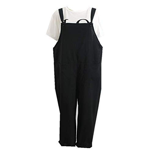 POQOQ Pants Womens Loose Jumpsuit Strap Belt Bib Pants Trousers Casual Overall XL Black -