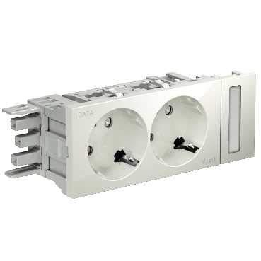 Schneider INS62002Double SCHUKO PLUG SOCKET Osi White Data 50Marker for Optiline