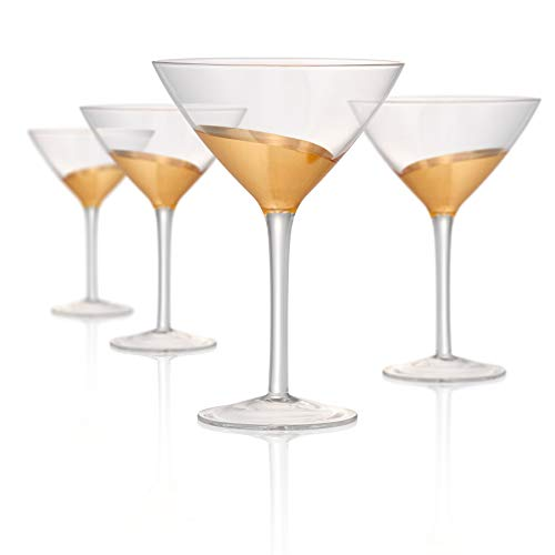 Artland Luxe Gold 12 Ounce Martini Glass, Set of 4 -