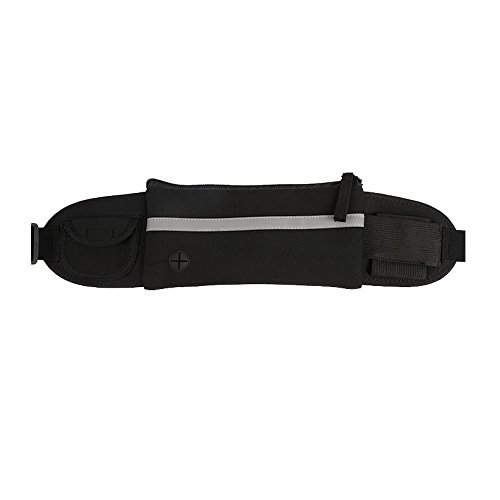 Refoss Running Waist Pack, Waterproof Fanny Pack, Expandable Sport Belt with Water Bottle Holder, Great for Biking, Hiking, Travel and Outdoor Activities (Black)