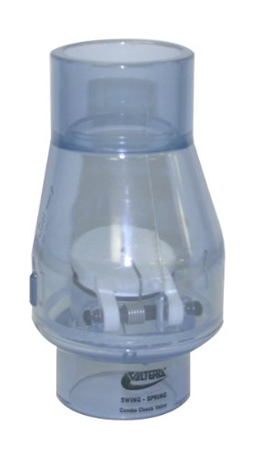 Valterra 200-C15 PVC Swing/Spring Combination Check Valve, Clear, 1-1/2