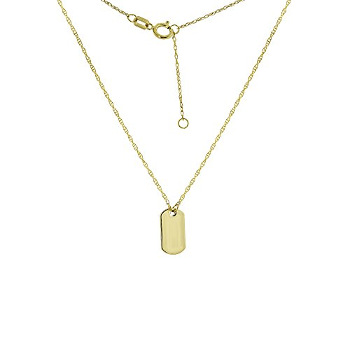 DOG TAG, 14KT GOLD DOG TAG NECKLACE 18'' INCHES by DiamondJewelryNY