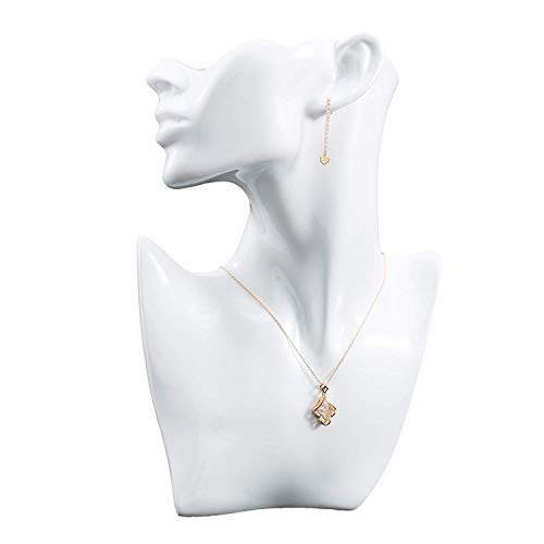 Boutique Jewelry Display Bust Necklace and Earring Mannequin Stand - for Chain, Necklace, Pendant, Earring, Jewelry Photography, Photo Props - Free Standing, 10.6 x 7 x 2.3 Inches, White