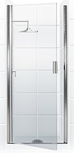 (Coastal Shower Doors PQFR24.66B-C Paragon Series Semi-Frameless Continuous Hinge Shower Door in Clear Glass, 24