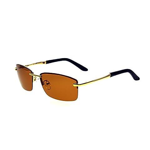 Zacway Polarized Spring Hinges Metal Predator Sunglasses UV400 60mm (Gold Frame / Brown Lens, 60) - Predator Cleaner