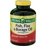 Spring Valley Fish, Flax & Borage Oil Dietary Supplement Softgels, 120 Count (Pack of 2) (Borage Fish Flax Oil)