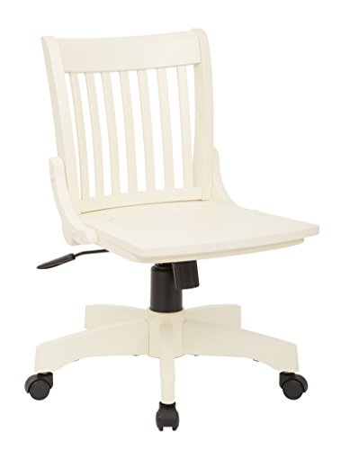 Office Star Deluxe Armless Wood Bankers Desk Chair with Wood Seat, Antique White - Office Star Work Smart Wood