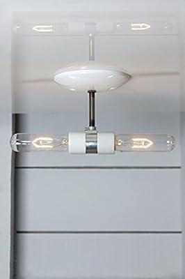 Double Semi Flush Mount Metal Ceiling Light - White