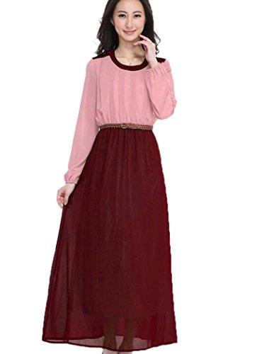 Manicotto Lungo Musulmano Rosa Donne Vestito Delle Rappezzatura Lora Maxi Aro Caftano Del Islamico dpXqWIwI
