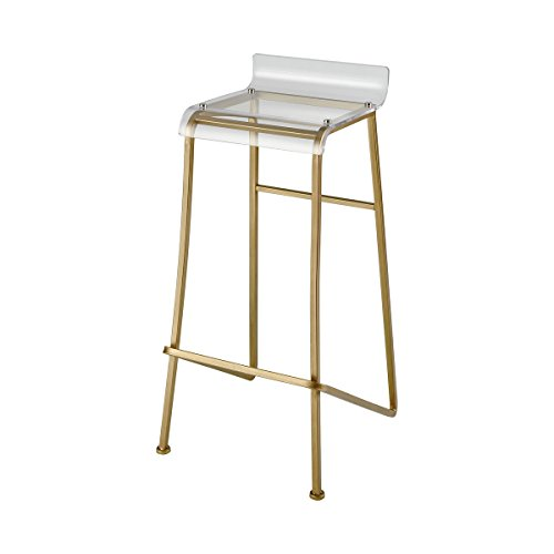 Sterling Home 351-10263 Hyperion Bar Stool, Gold, Clear