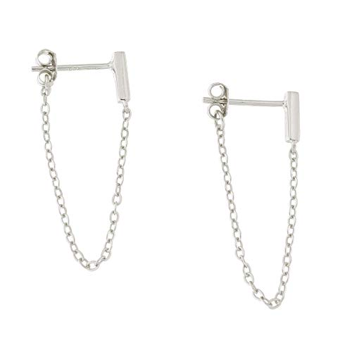 Solid Sterling Silver Rhodium Plated Bar Stud with Chain Dangle Earrings