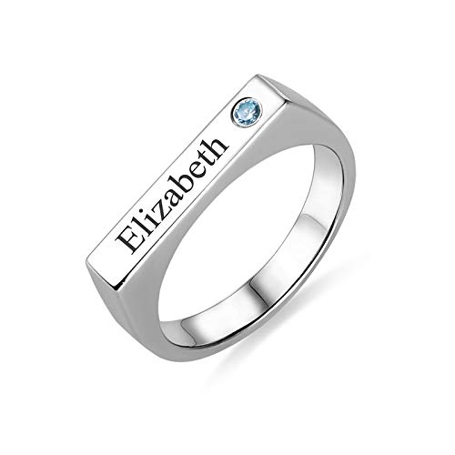 RESVIVI Sterling Silver Customized Name Rings with Birthstones Engraving Personalized Women Promise Name Rings Silver