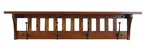Wood Coat Rack Shelf Wall Mounted, Mission, 4 Hook, Oak Wood, Michaels Stain ()