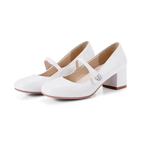 Zehe Blend Pumps AllhqFashion Mittler Schuhe auf Damen Ziehen Quadratisch Absatz Weiß Materialien wOwSI7