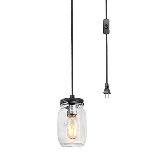 LNC Hanging Lamp with Plug in Cord Glass Mason Jar Pendant Light A03219