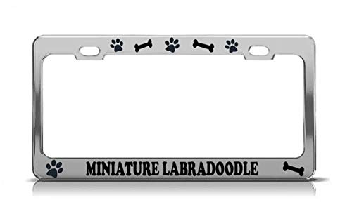Product Express Miniature Labradoodle Dog Paw Print License Plate Frame Tag Cover Chrome