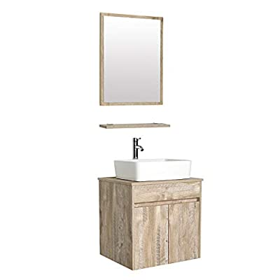 "eclife 24"" Bathroom Vanity Sink Combo Wall Mounted Natural Cabinet Vanity Set White Ceramic Vessel Sink Top, W/Chrome Faucet, Pop Up Drain & Mirror (T03E03AK) - ❤WATER SAVE: 1.5 GPM faucet aerator help to save 30% water; 3/8'' Water supply hose; 23-5/8"" Long water supply lines;Chrome faucet; Pop up drain. ❤ECO-FRIENDLY: MDF Eco-friendly material used to make vanity more durable and sturdy; 15mm Thickness and natural color board, easy to clean and wear-resistance.(Attention please: Because of handmade, Vanity's surface is smooth to touch, while looks like cracks, and different vanities, cracks will look like a little difference.) ❤EASY to INSTALL: Need to be self-assemble, delicate design make it easy to assemble; Small body includes maximized storage. (This item will be send with 2 packages.) - bathroom-vanities, bathroom-fixtures-hardware, bathroom - 31XNbDb37iL. SS400  -"