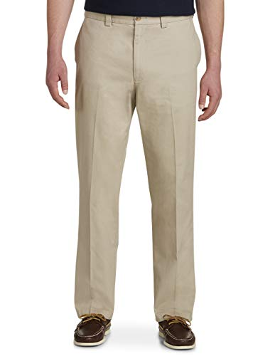 Harbor Bay by DXL Big and Tall Waist-Relaxer Flat-Front Twill Pants Khaki 52 RG X 28