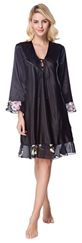 Lavenderi Women's Satin Long Sleeve Nightgown Sleepwear Dress (Small, Solid Black) ()