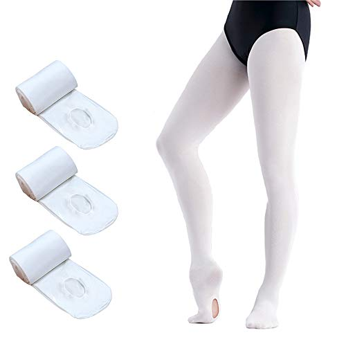 Ballet Tights for Girls,Dance Convertible Ballet Tights,Ultra Soft Ballet Ballet Footed Tights With Holes (White 3 Pairs, Medium) ()