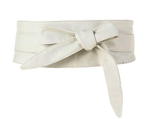 (Aecibzo Women's PU Leather Self Tie Wrap Around Obi Waist Band Cinch Boho Belt (White, Fit waist 22
