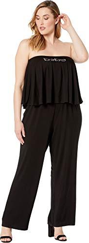 bebe Womens Plus Size Logo Strapless Romper Black 1X