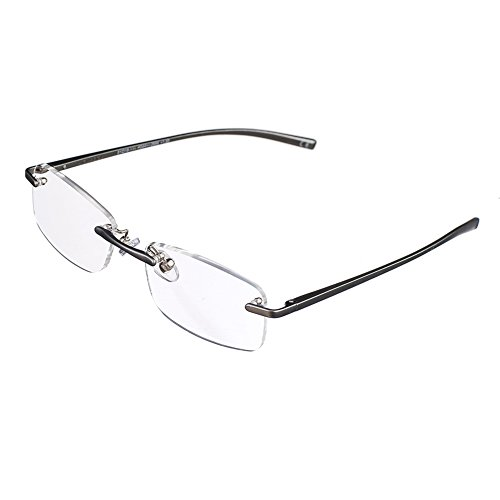 Bi Tao Spring-Hinges Nearsighted Shortsighted Myopia Glasses -5.50 Strengths Men Women Fashion Rimless Nearsighted - Indestructible Case Eyeglass
