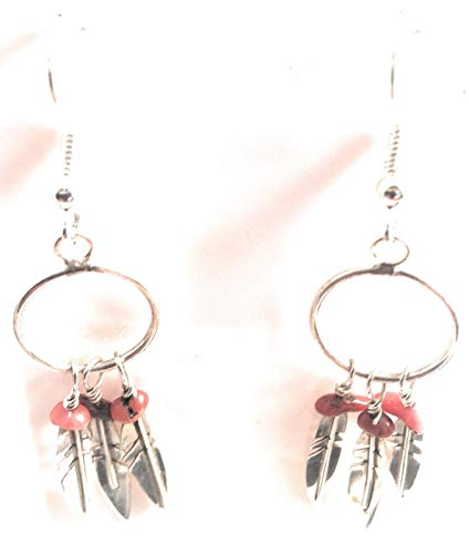 Navajo Sterling Silver Spiny Oyster Feather Dangle Earrings from Nizhoni Traders LLC