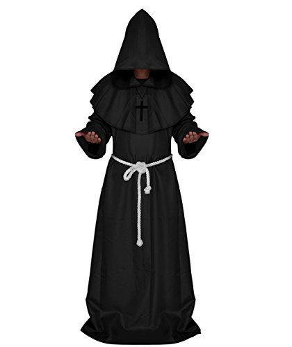 VERNASSA Medieval Monk Robe Priest Robe Halloween Cosplay Costume Cloak Black -