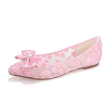 Wuyulunbi@ Scarpe donna Tulle Primavera Estate Ballerina Flats tacco piatto Party Punta Bowknot per vestire Party piatto & Sera Bianco Nero Rosa Blu ,l'avorio,US8 / EU39 / UK6 / CN39 Avorio US8 / EU39 / UK6 / CN39 9d3393