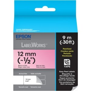 1/2IN LABELWORKS PEARLIZED LC TAPE CARTRIDGE BLACK ON PINK