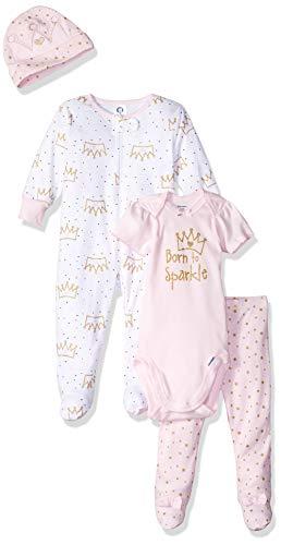 (Gerber Baby Girls' 4-Piece Sleep 'N Play, Onesies, Pant and Cap, Princess Crown, 0-3 Months)