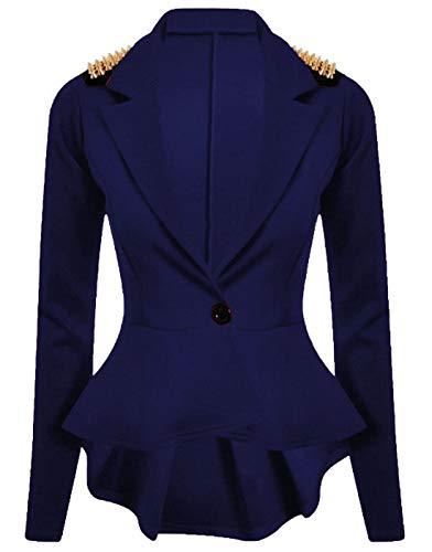 Fashions Blazer Slim Giacca Dress Wear S Studded Fancy Spike Islander Womens Ladies Navy 3xl Fit Party Peplum AqXHPOdw