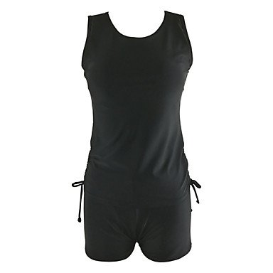 HHBO De las mujeres Tankini-Cintura Alta Monocolor Con LazoBandeau-Poli¨¦ster Black