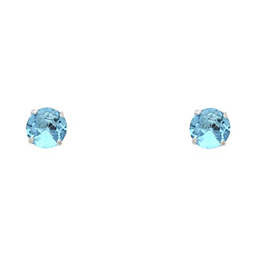 (14k White Gold 4mm Round CZ Solitaire Basket-set Stud Earrings with Screwback)