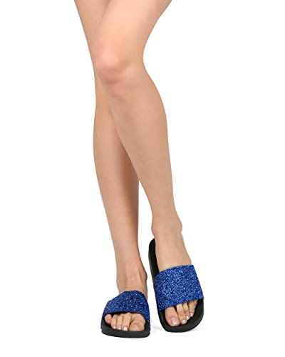 Media Toe Nature Collection Women Footbed Slide HG63 Open Blue by Alrisco Beaded Breeze Mix 4AFwH