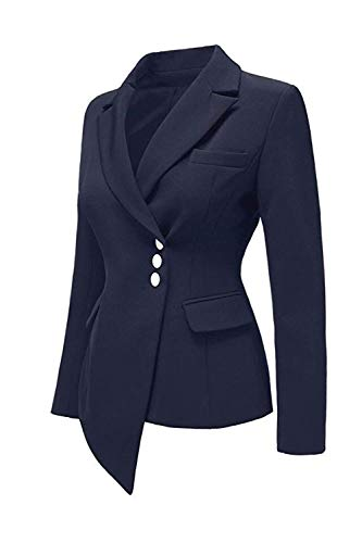 Autunno Outerwear Single Da Giacca Breasted Suit Slim Monocromo Manica Offlce Fit Irregular Donna Tailleur Blu Lunga Leisure Bavero wqggIX