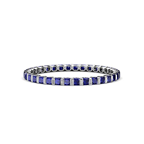 Blue Sapphire 2mm Common Channel Set Eternity Band 1.16 to 1.32 Carat tw in 14K White Gold