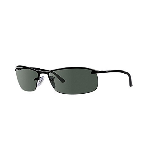 Ray-Ban RB3183 Sunglasses 63 mm (63 mm, Black Frame/Green Solid Lens)