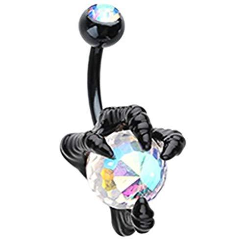 Inspiration Dezigns 14G Dragon's Claw Aurora Borealis CZ Black Belly Button Navel Ring