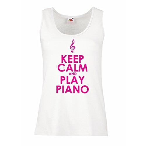 lepni.me Camisetas sin Mangas para Mujer Play Piano - Citas del músico (X-Large Blanco Magenta)