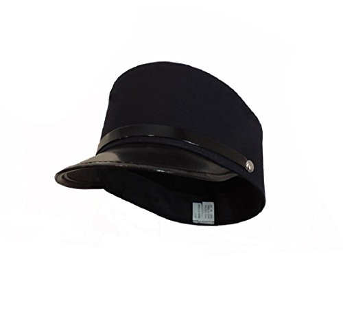 Black Conductor (Navy Blue Engineer Train Conductor Hat Cap With Black Vinyl Brim)