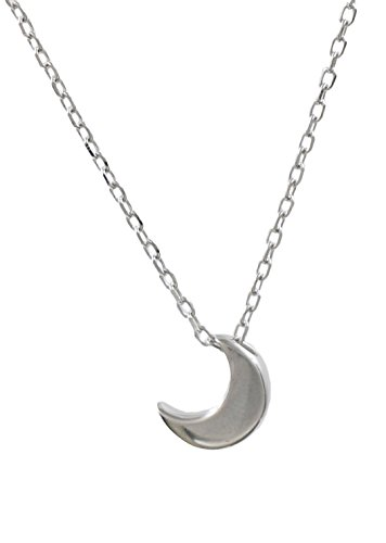 Sterling Silver Small Crescent Moon Pendant Necklace, 16